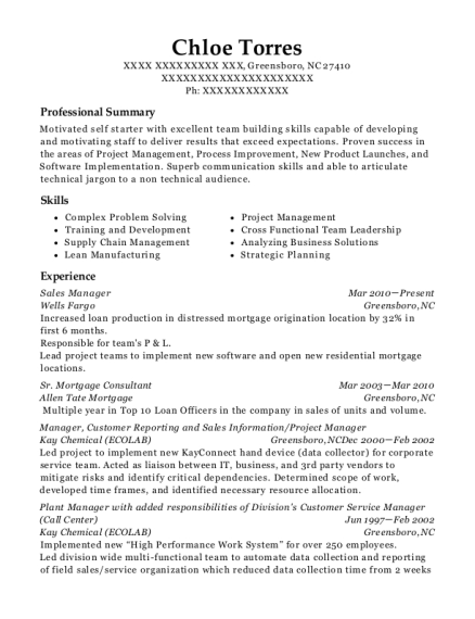 manufacturing manager resumes