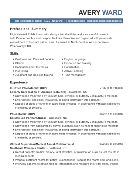 labcorp in office phlebotomist  iop  resume sample