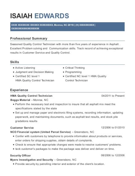 Best Hma Quality Control Technician Resumes | ResumeHelp