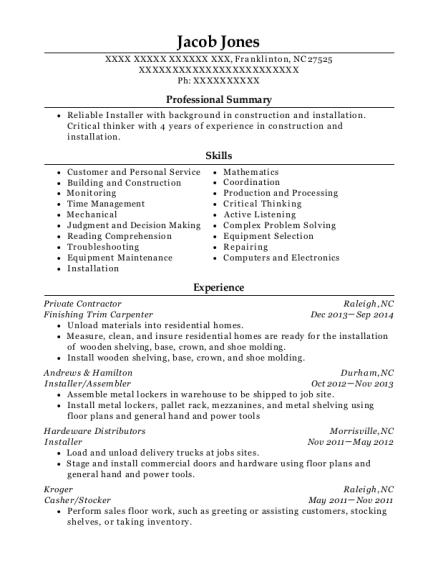 View Resume Finishing Trim Carpenter