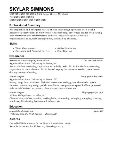 best assistant housekeeping supervisor resumes resumehelp