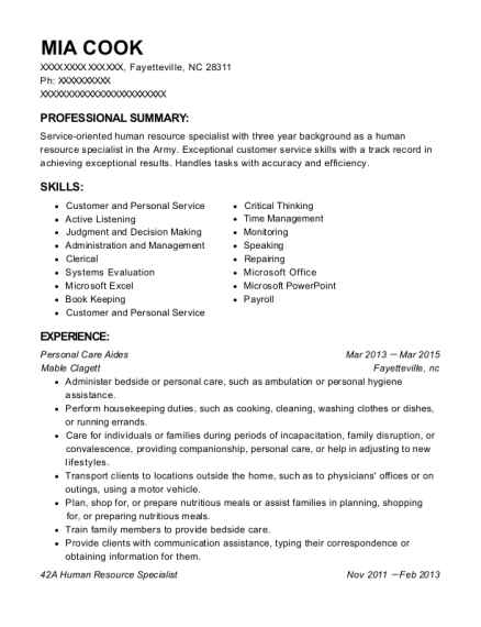 United States Army 42a Human Resource Specialist Resume Sample