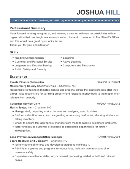 Mecklenburg County Sheriff\'s Office Inmate Finance Technician Resume ...