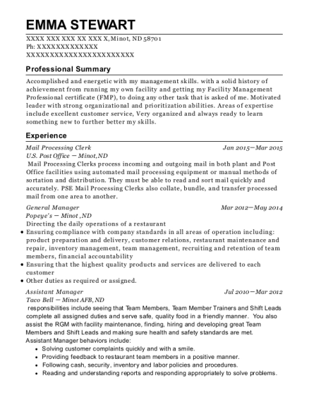 Mail Processing Clerk Receptionist Customize Resume View