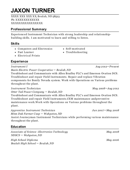 View Resume. Instrument I