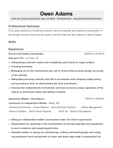 discount tire service and safety coordinator resume sample