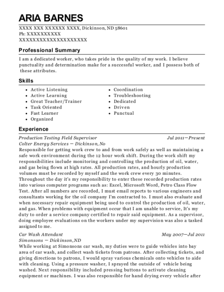 Colter Energy Services Production Testing Field Supervisor Resume ...