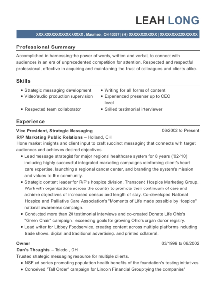 leah long - Sample Ad Copywriter Resume