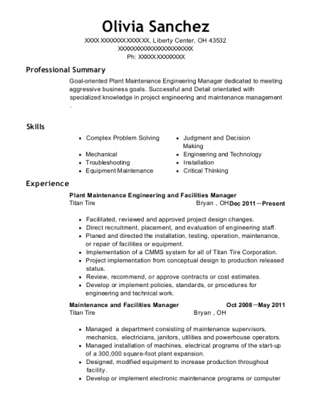 View Resume. Plant Maintenance Engineering And Facilities Manager  Facilities Manager Resume