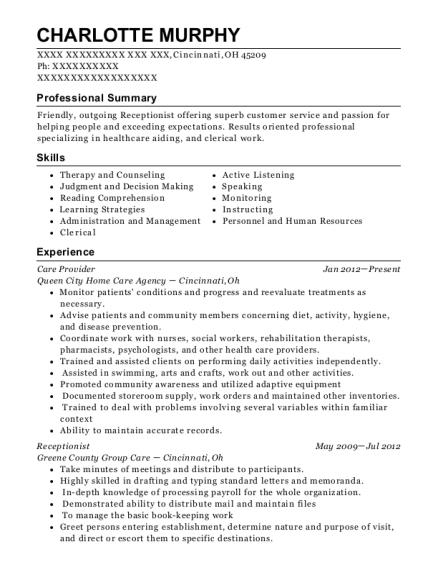 ihss care provider resume sample
