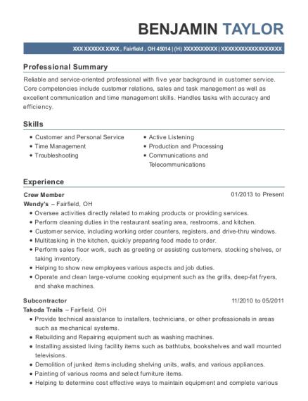subcontractor resume