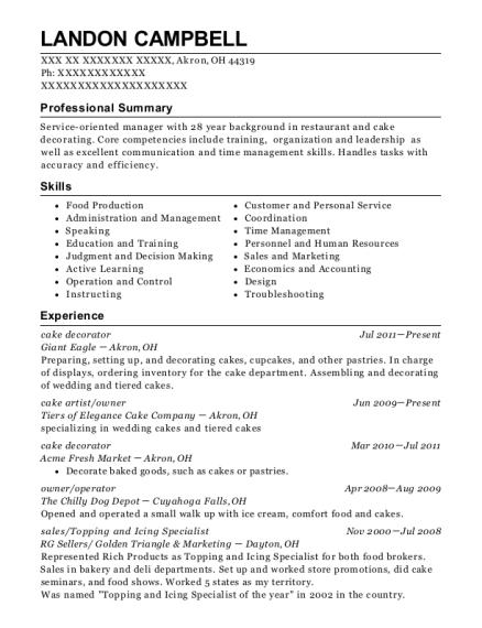 kroger cake decorator resume sample