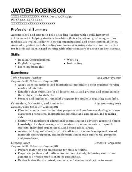 dayton public schools title 1 reading teacher resume sample dayton