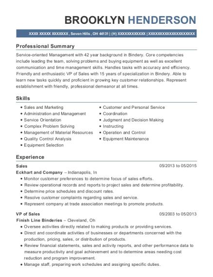 Best Bindery Manager Resumes | ResumeHelp