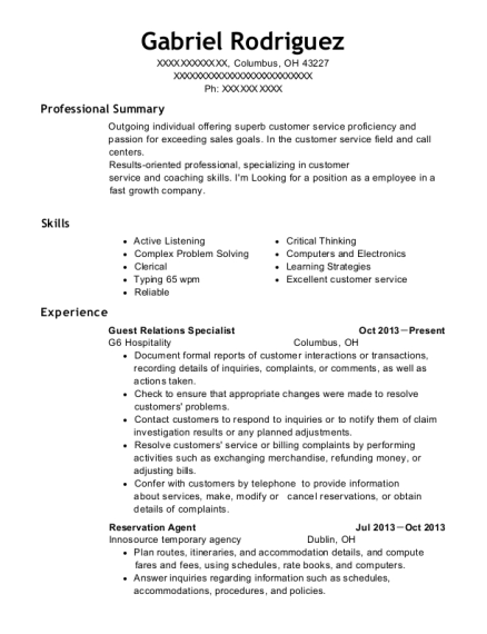 View Resume Guest Relations Specialist
