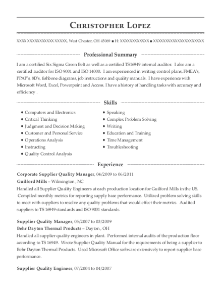 Best Supplier Quality Engineer Resumes ResumeHelp
