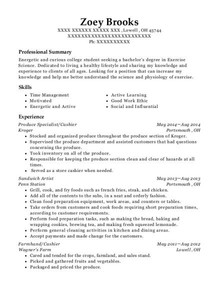 publix produce specialist resume sample
