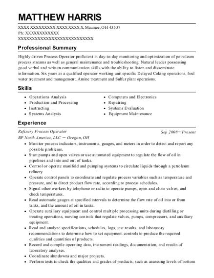 Givaudan Process Operator Resume Sample