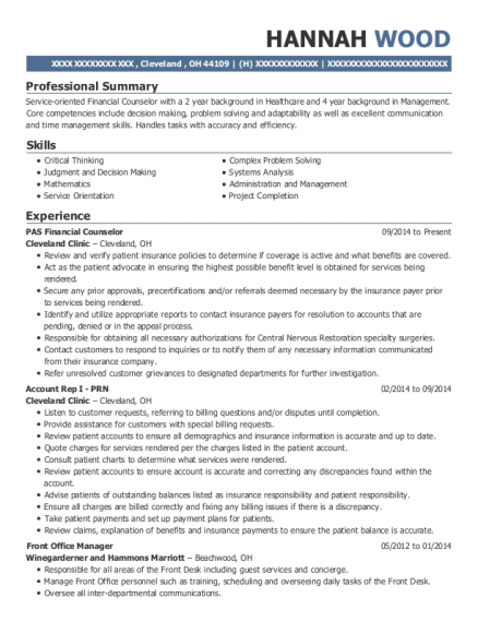 View Resume PAS Financial Counselor