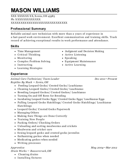 View Resume Animal Care Technician