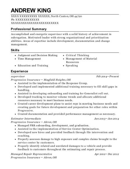 Progressive Insurance Company Claims Generalist Intermediate Resume ...