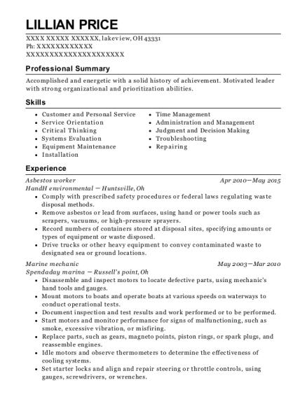 Best Asbestos Worker Resumes | ResumeHelp