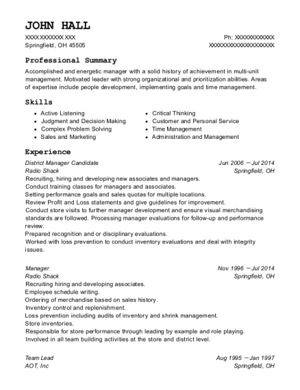 radio shack district manager candidate resume sample springfield