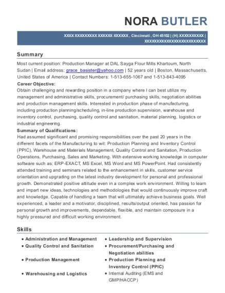 View Resume. Production Manager