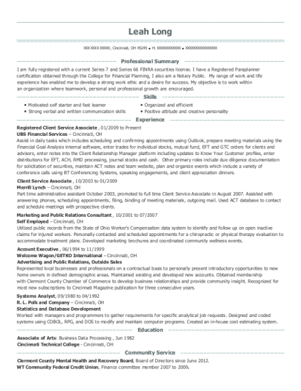 best registered client service associate resumes