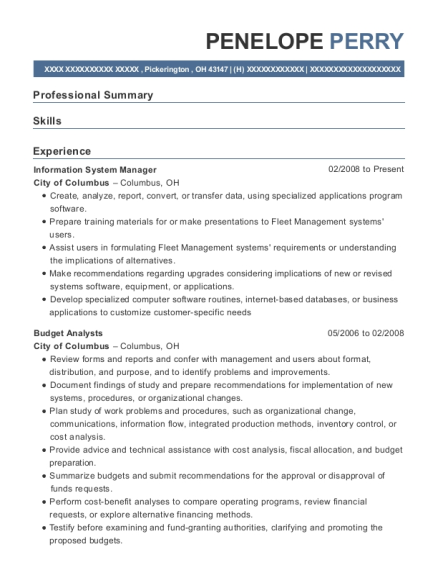 Information System Manager , Management Analyst. Customize Resume · View  Resume
