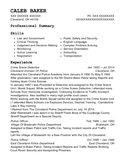 cleveland division of police crime scene detective resume sample