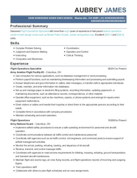 View Resume. Flight Operations Speciallist