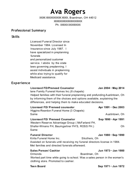 Lane Family Funeral Homes Inc8 Chapels Licensed Fd Resume