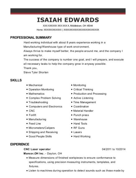 isaiah edwards - Cnc Laser Operator Sample Resume