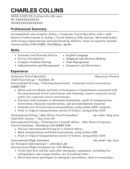 southwest airlines flight attendant resume sample