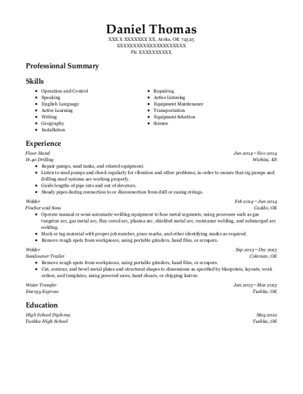 Rockwater Energy Solutions Water Transfer Resume Sample - Rice Lake ...