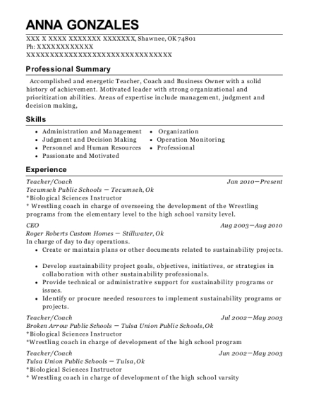 tecumseh public schools teacher coach resume sample shawnee