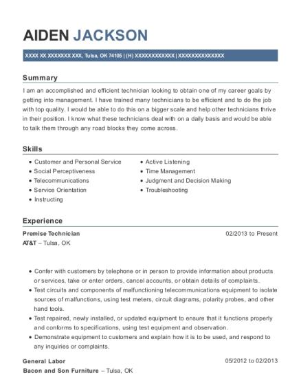 At&t Premise Technician Resume Sample - Tulsa Oklahoma | ResumeHelp
