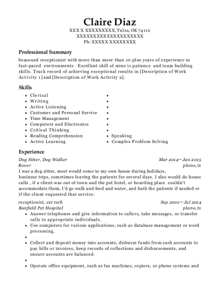 view resume dog sitter - Dog Walker Resume