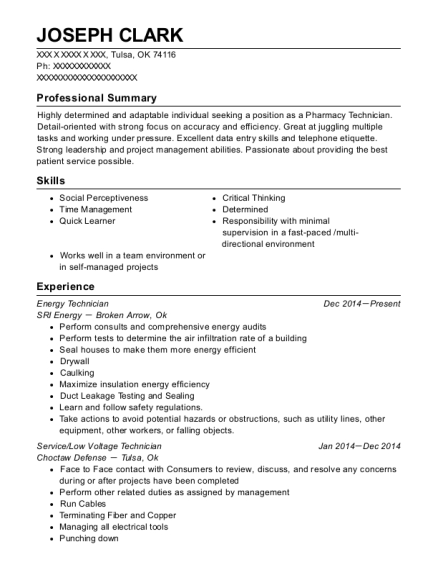 Best Energy Technician Resumes | ResumeHelp