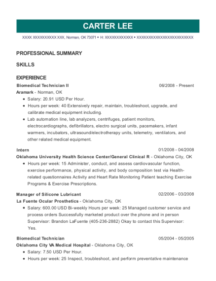 view resume biomedical technician ii