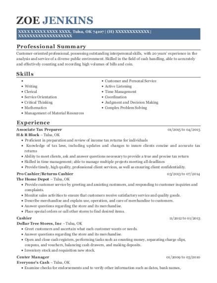 Zoe Jenkins  Tax Preparer Resume