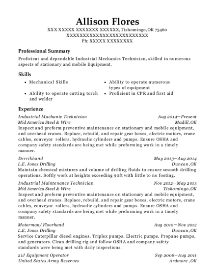 View Resume. Industrial Machanic Technician