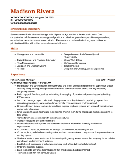 Best Patient Access Manager Resumes | ResumeHelp