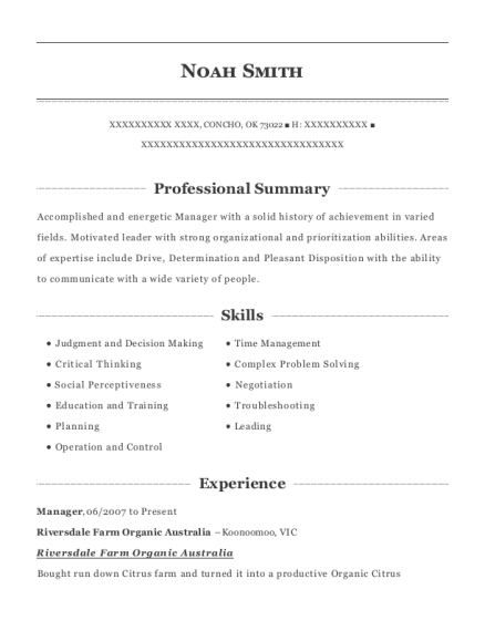 Farm Manager Resume Best Manager Resumes In Oklahoma  Resumehelp