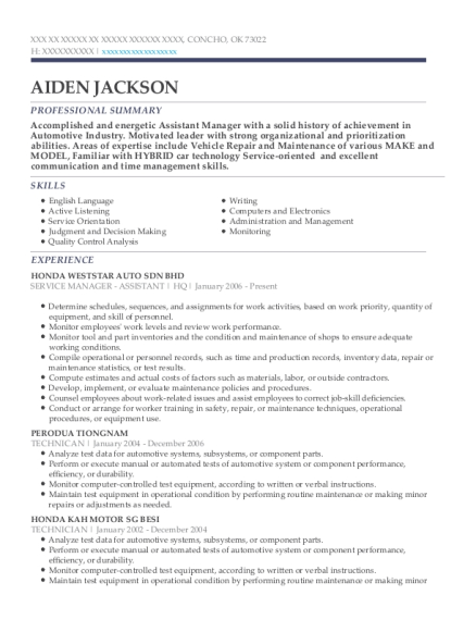 junior technician resume