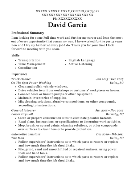 on the spot power washing truck cleaner resume sample