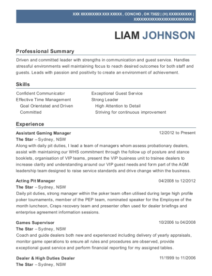 the star assistant gaming manager resume sample