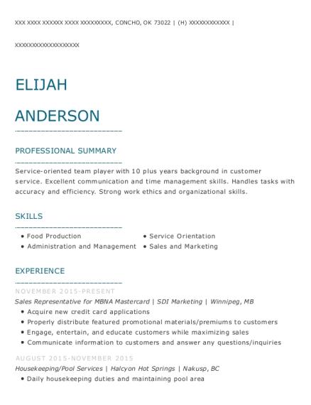 Sdi Marketing Sales Representative For Mbna Mastercard Resume Sample ...