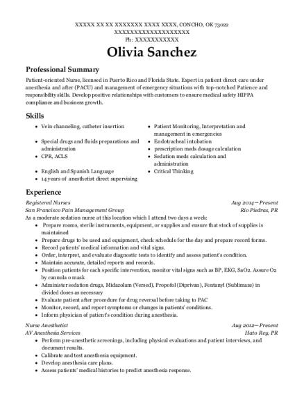 view resume - Nurse Anesthetist Resume